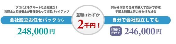 会社設立お任せパックと自分で会社設立した場合の差額はわずか2千円!